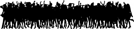 enthusiastic: Silhouette of dancing crowd  Illustration