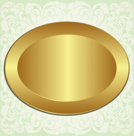 gold oval frame with floral ornaments Stock Vector - 13747918