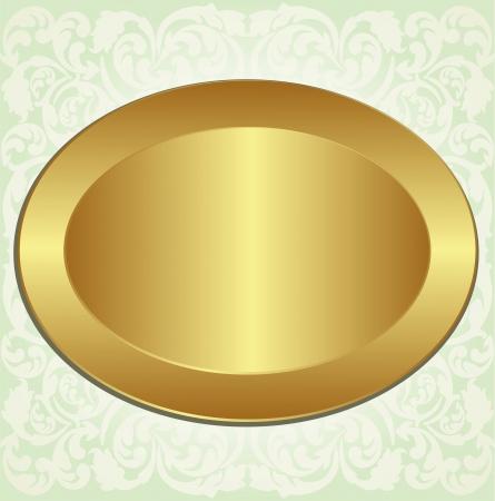 marco de oro ovalada con los ornamentos florales