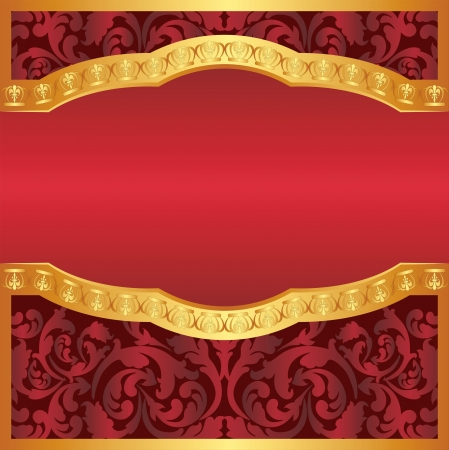 burgundy and gold background with floral ornaments and copy space Vector