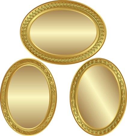 ovals: golden oval background with ornaments and copy space
