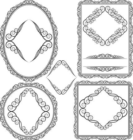 vecto set - borders and frames - square, oval, rectangular, circular Vector