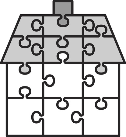 connection block: house from puzzles Illustration