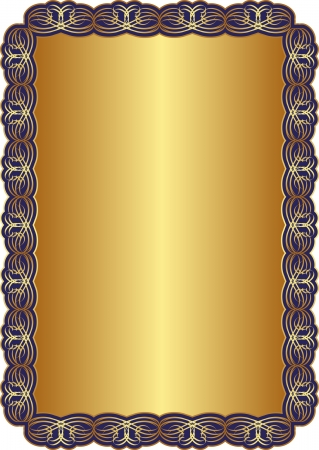 classical arts: golden background with blue frames and ornaments Illustration