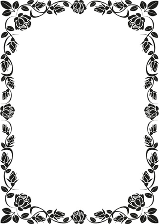 silhouette rose frame Illustration