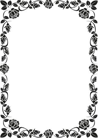 corner border: silhouette rose frame Illustration