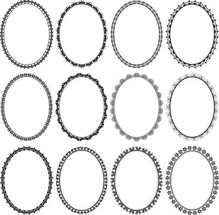 set of frames oval Vector