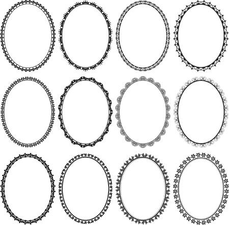 set of frames oval Illustration