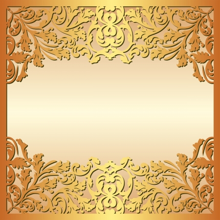 golden background with floral ornaments Vector