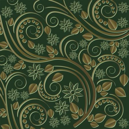 fondo verde oscuro: de fondo de color verde oscuro con adornos florales y de plantas Vectores
