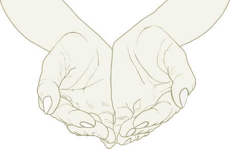 clip art draw: Open wrinkled hands Illustration
