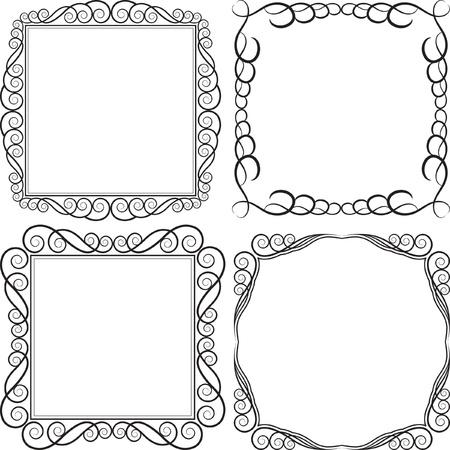victorian frame: square frames - vector illustration