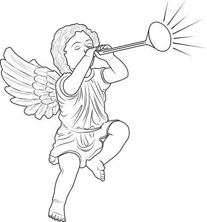 cupid played trumpet Stock Vector - 14245997