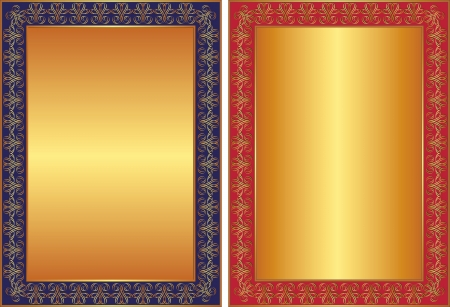 golden background with blue and red frame and ornaments Vector