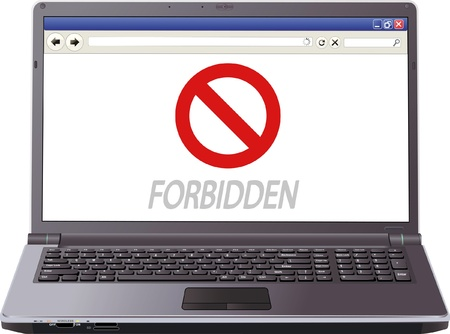 screen of laptop with the message  forbidden  Vector