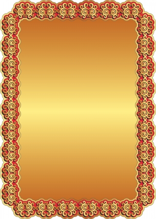 golden background with red frame and ornaments