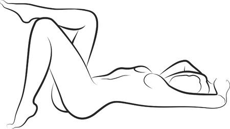 mujeres negras desnudas: dibujo de una mujer desnuda acostada