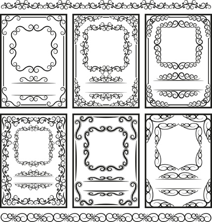 set of frames and borders -  page decoration  Ilustracja