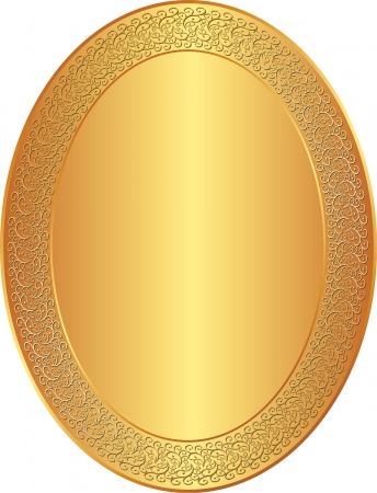 oval golden background with ornaments Vector