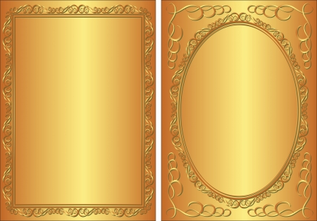 brass plate: golden background with decorative frame
