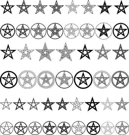 pentagram: set of pentagrams - vector illustration