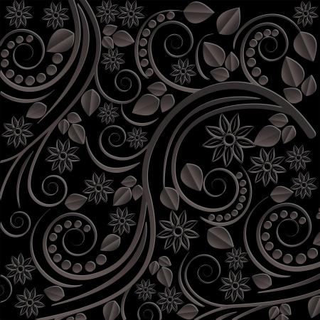 어두워: 꽃 모티브와 검은 배경 일러스트