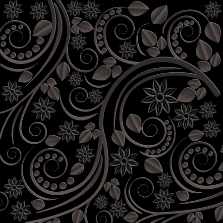 black background with floral motifs