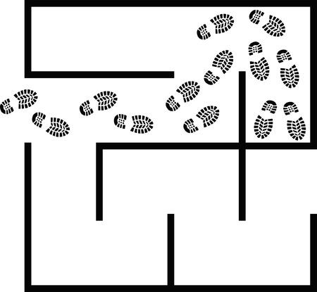 hard way: simple maze - clip art illustration Illustration
