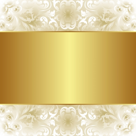 creamy and gold background with floral ornaments Vector