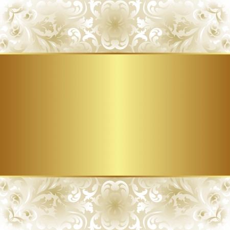 cremoso: fundo cremoso e dourado com ornamentos florais Ilustra��o