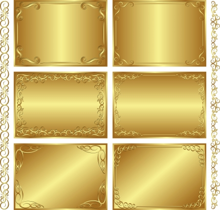 golden border: set of golden  backgrounds Illustration