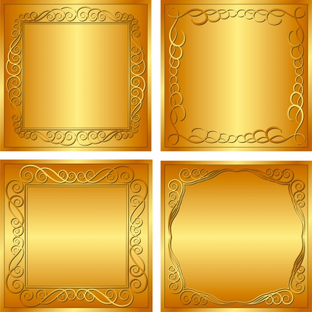 set of golden  backgrounds  Vector