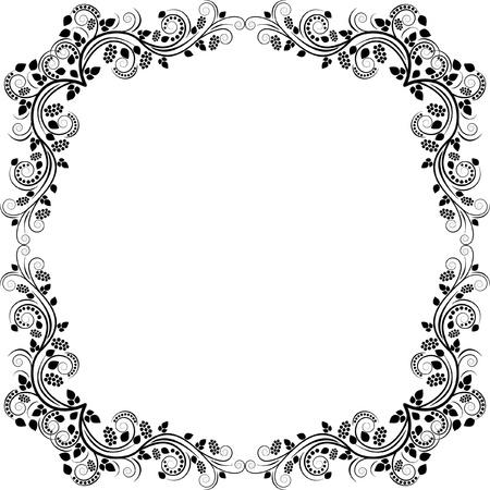 border silhouette: floral frame - clip art illustration