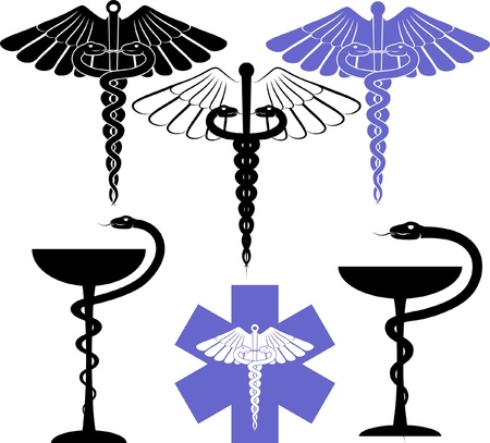 medical icons: medical and pharmacological sign - eskulap Illustration