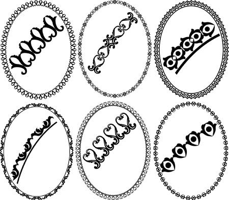 silhouette oval frames Stock Vector - 15090577