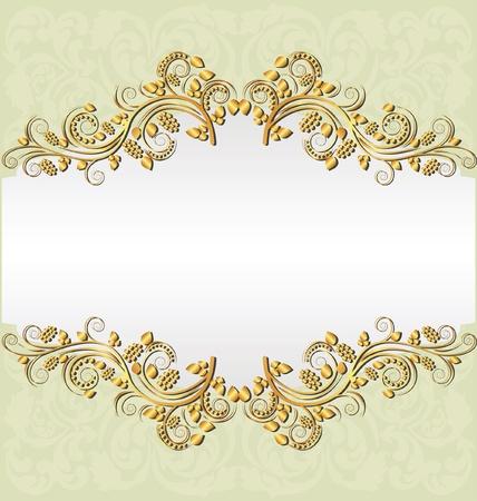bleke gele achtergrond met gouden ornamenten en kopieer ruimte