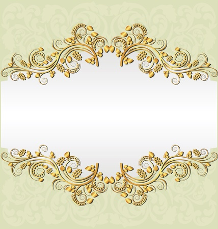 pale yellow background with golden ornaments and copy space Vector