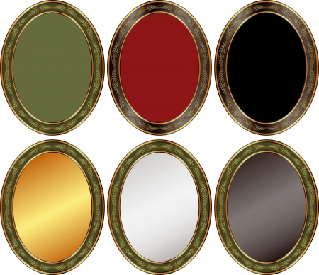 oval frame: set of oval backgrounds with ornaments and copy space
