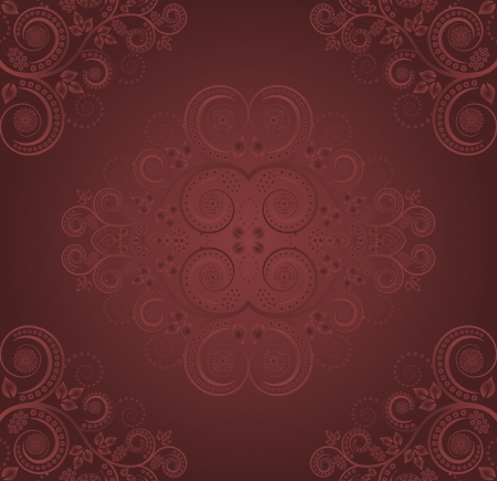burgundy background with plant decoration - seamless Vector
