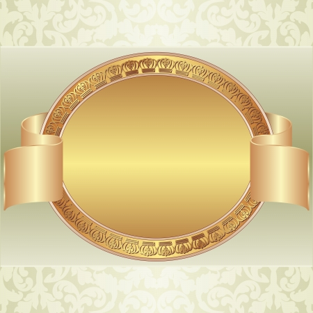 pale yellow: pale yellow background with a gold oval frame