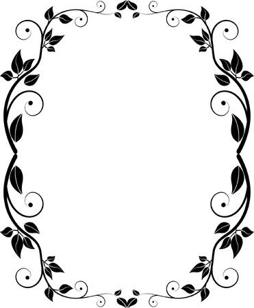 silhouette floral frame Illusztráció