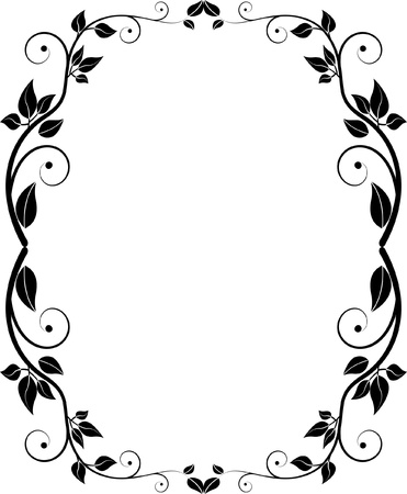 an oval: silueta floral Vectores