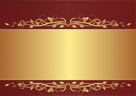 maroon: burgundy and gold background with floral ornaments Illustration