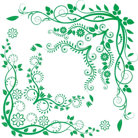 flower clip art:  floral corners