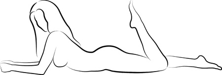 nude female: sketch of a nude woman lying Illustration