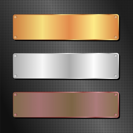 black background with gold, silver and brown banner