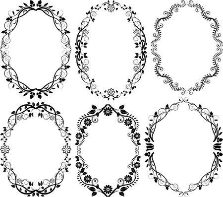 ovalo: silueta floral Vectores