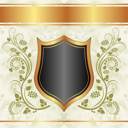 creamy: black creamy gold background with floral ornaments