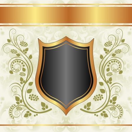 cremoso: fundo dourado cremoso preto com ornamentos florais Ilustra��o