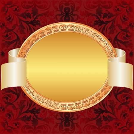 gold red background with gold oval frame Vector